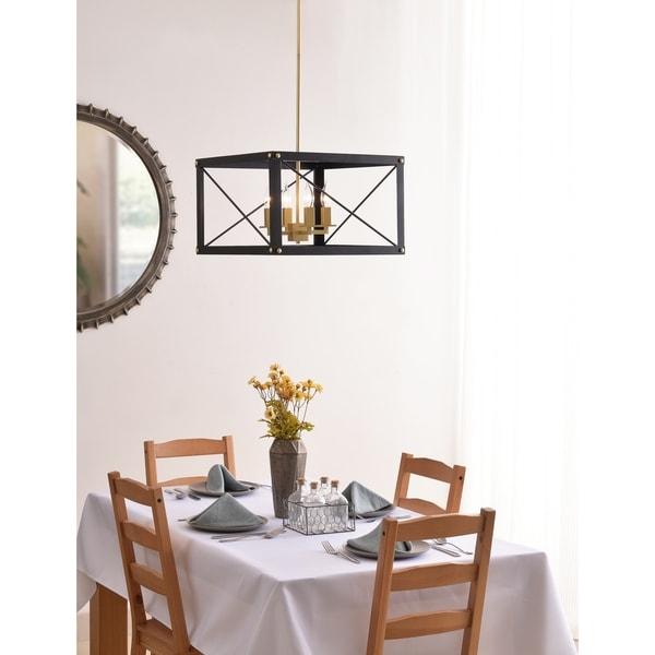 Design Craft Liam 4 Light Chandelier - Black and Gold Finish