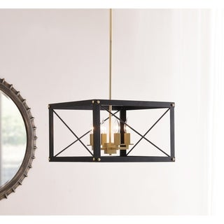 Liam 4 Light Chandelier - Black and Gold Finish