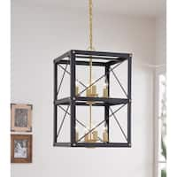 Liam 8 Light Chandelier - Black and Gold Finish