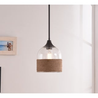Design Craft Jasper 1 Light Pendant - Oil Rubbed Bronze with Rope and Glass