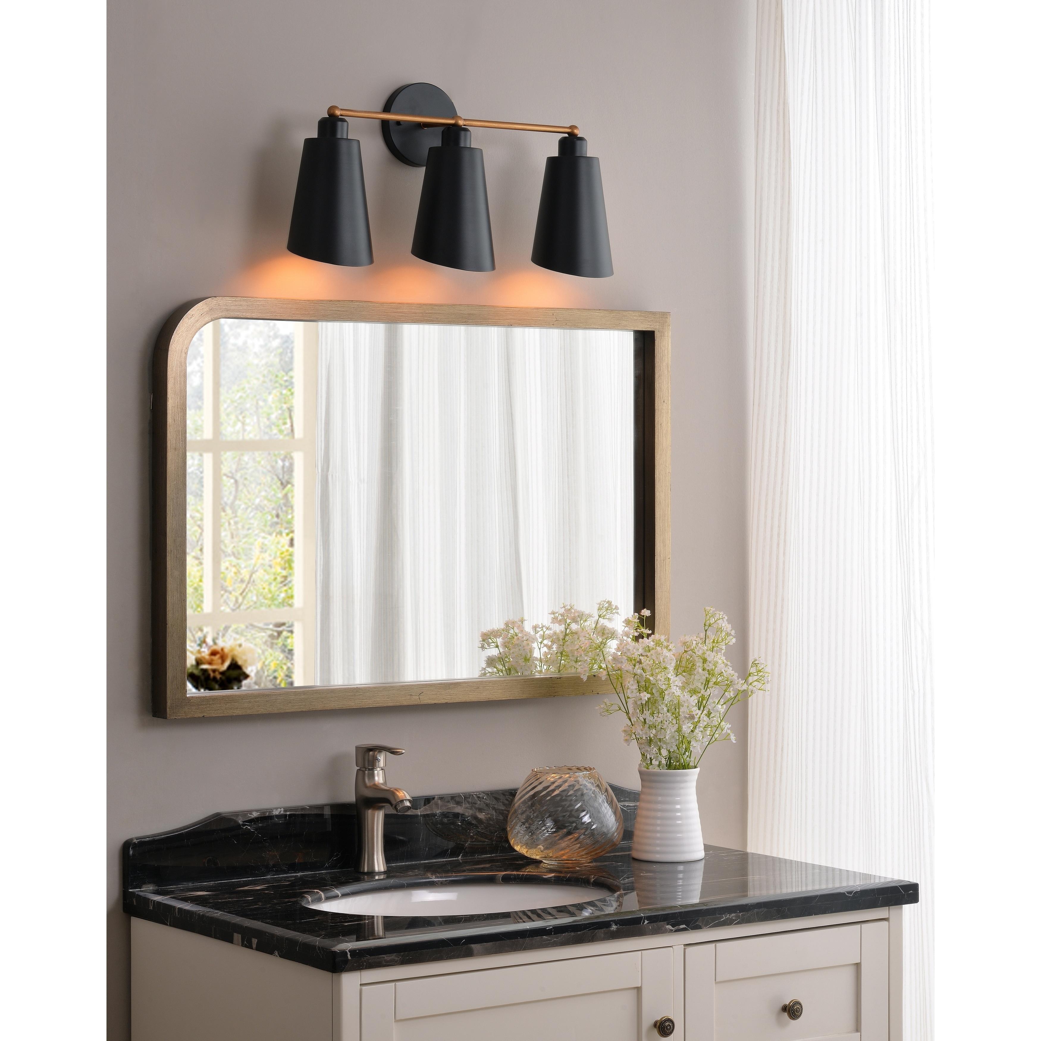 Image of: Shop Black Friday Deals On Brady 3 Light Vanity Matte Black With Gold On Sale Overstock 21725121