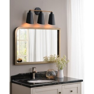 Design Craft Brady 3 Light Vanity - Matte Black with Gold