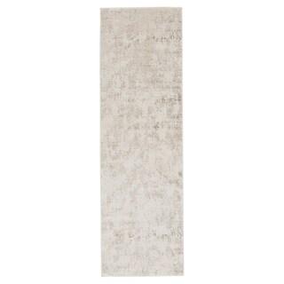 """Laramie Abstract Silver/ White Runner Rug (2'6""""X8') - 2'6"""" x 8' Runner"""