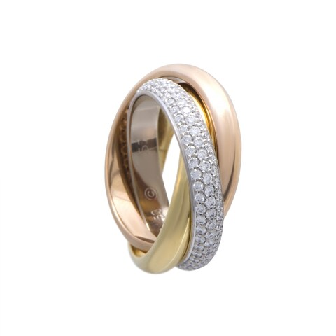 Cartier Trinity Rose White and Yellow Gold Diamond Pave Rolling Band Ring