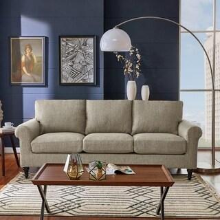 Handy Living Bella SoFast Heather Grey Herringbone Slipcover Sofa