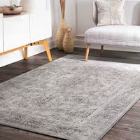 nuLoom Grey Wool Stonewash Faded Border Area Rug (9' x 12')