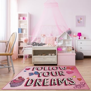 Gertmenian Jojo Dreams Pink Kids Area Rug (4'6 x 6'6)