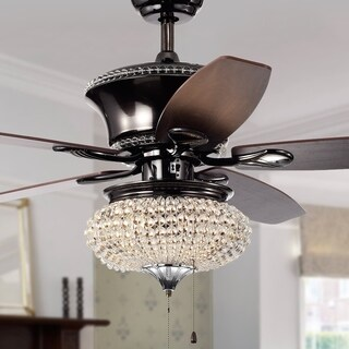 Vasilisa II 1-light Crystal 5-blade 52-inch Pear Black and Chrome Ceiling Fan