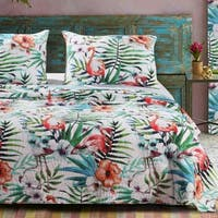 Barefoot Bungalow Flamingo Tropical Palm Leaf Coastal Quilt Set