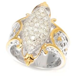 Michael Valitutti Palladium Silver Diamond Marquise Shaped Cluster Ring