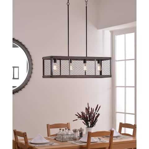 Design Craft Grayson 4 Light Island Light - Wood and Oil Rubbed Bronze