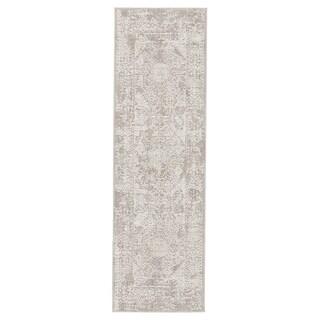 """Lolani Abstract Gray/ White Runner Rug - 2'6"""" x 8' Runner"""