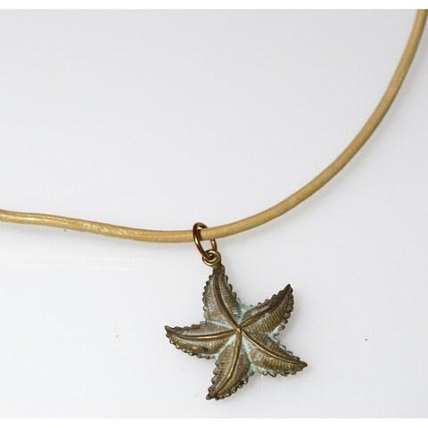 Handmade White Patina Brass Starfish Pendant - (Made in USA)