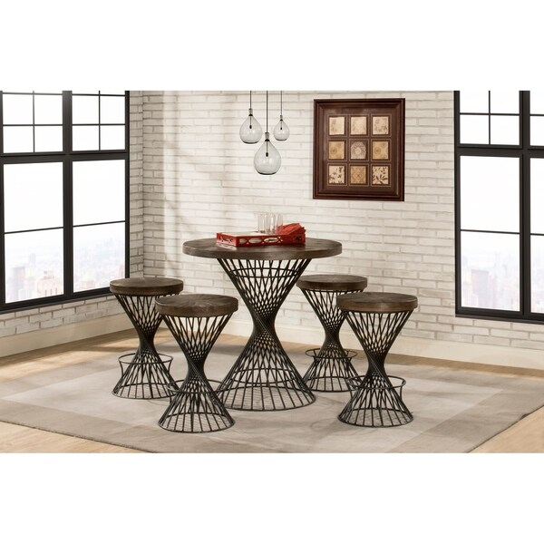 Hillsdale Kanister 5-Piece Round Counter Height Dining - Walnut Finish