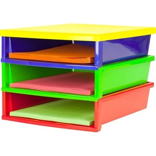 Storex Quick Stack Construction Paper Sorter/ 3 compartments / Multicolored or Black