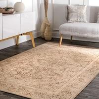 "nuLOOM Tan Traditional Classical Wool Stonewash Faded Border Area Rug - 5'6"" x 8'6"""
