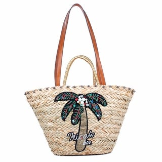 Nicole Lee Natayla Palm Tree Straw Shopper Bag