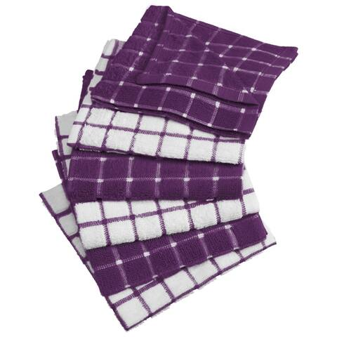 Design Imports Combo Windowpane Terry Dishcloth Set of 6 (12 inches long x 12 inches wide)