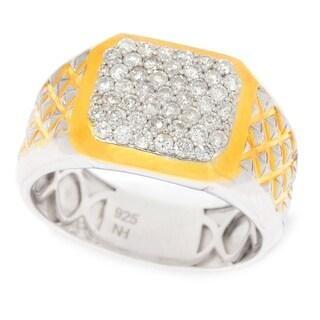 Michael Valitutti Palladium Silver Diamond Lattice Textured Band Ring