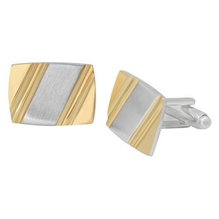 Men's Stainless Steel Gold-Tone Diagonal Brushed Finish - Cufflinks