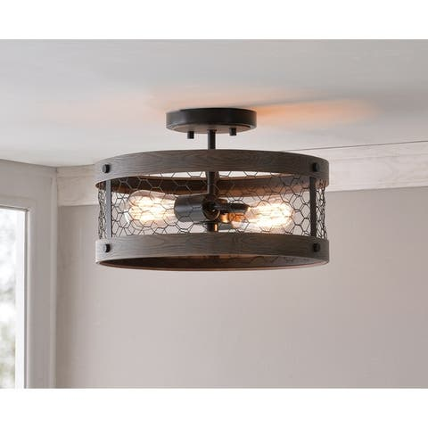 Grayson 2 Light Semi Flush Mount - Wood and Oil Rubbed Bronze