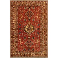 Super Kazak Brenda Red/Ivory Hand-Knotted Rug (4'0 x 5'9) - 4 ft. 0 in. x 5 ft. 9 in.