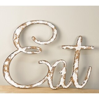 """Rustic """"Eat"""" Sign Text Cutout in Farmhouse White"""