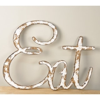 "Rustic ""Eat"" Sign Text Cutout in Farmhouse White"