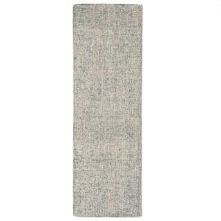 """Richmond Handmade Abstract Blue/ Light Gray Runner Rug (2'6""""X8') - 2'6"""" x 8' Runner"""
