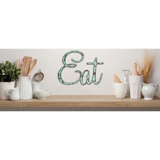 """Rustic """"Eat"""" Sign Text Cutout in Aqua"""