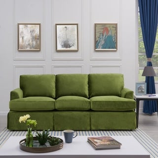 Handy Living Orlando SoFast Kale Green Velvet Slipcover Sofa with Skirt
