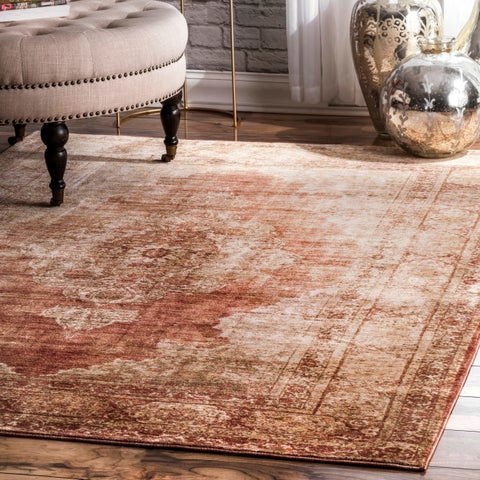 nuLoom Classical Persian Historical Faded Border Rust Area Rug - 7'6 x 9'6