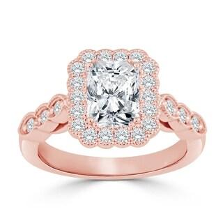 Auriya 14k Gold Vintage Inspired 2 1/2ct TDW Radiant cut Diamond Floral Halo Engagement Ring