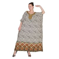 Brown Tunic Top Abstract Kaftan Plus Size Caftan Maxi Coverup Summer Long Casual Dress Women