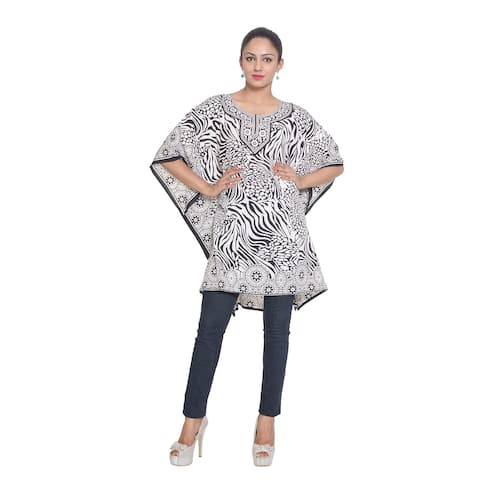 72f1209b4f1 White Tunic Top Floral Kaftan Plus Size Caftan Maxi Coverup Summer Short  Party Casual Dresses Women