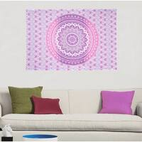 Pink Boho Mandala Printed Cotton Wall Hanging Decor Poster Tapestry Throw Bedspread - 30x45 inches