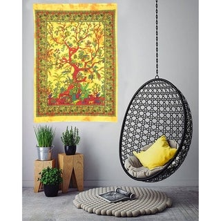 Multi-Color Tree Of Life Printed Cotton Wall Hanging Poster Tapestry - 30x45 inches