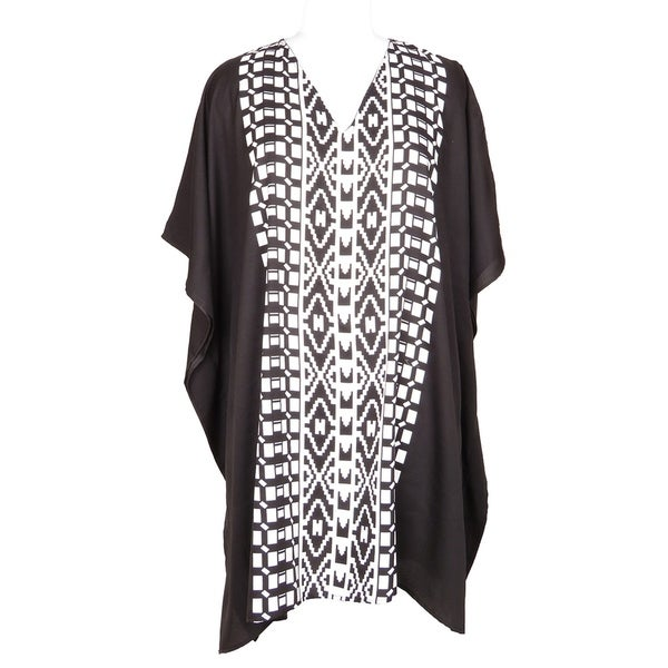 3dd603ff41fa2e Shop Black Tunic Top Geometric Kaftan Plus Size Caftan Maxi Coverup Summer  Short Beach Dresses Women - Free Shipping Today - Overstock - 21731038
