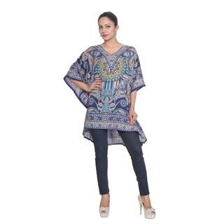 Tunic Top Floral Blue Kaftan Plus Size Caftan Maxi Coverup Summer Short Dresses Women's