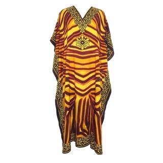 Tunic Top Leopard Yellow Kaftan Plus Size Caftan Maxi Coverup Summer Long Casual Dress Women