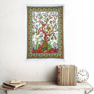 Life Of Tree Printed Multi-Color Cotton Wall Hanging Decor Poster Tapestry Throw Bedspread - 30x45 inches