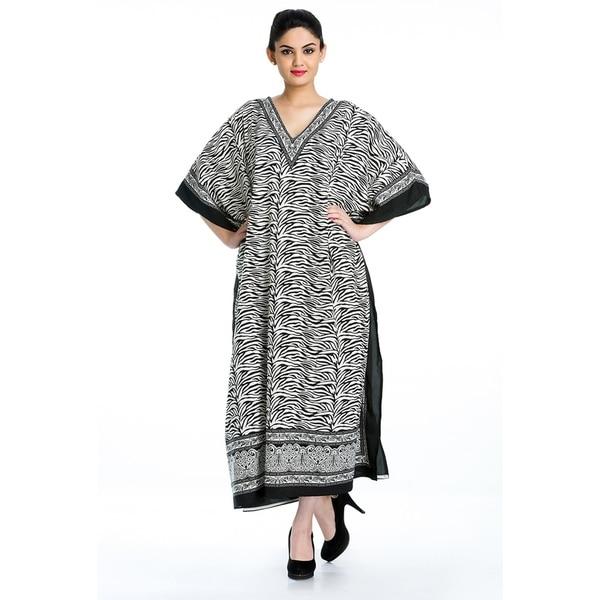 9949ce9290a Black Tunic Top Floral Kaftan Plus Size Caftan Maxi Coverup Summer Long  Casual Beach Dress Women