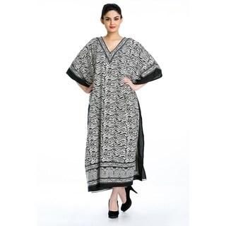 Black Tunic Top Floral Kaftan Plus Size Caftan Maxi Coverup Summer Long Casual Beach Dress Women