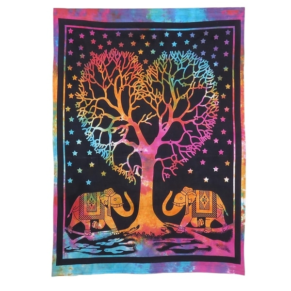 Bohemian Small Poster Wall Hanging Tapestry Cotton Fabric Multi Color Indian Art