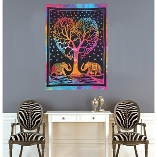 Hippie Bohemian Boho Elephant Mandala Multi-Color Cotton Poster Decor Wall Hanging Tapestry Throw Bedspread - 30x45 inches