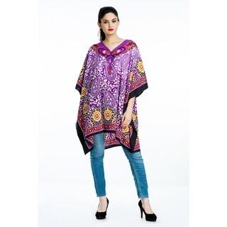 Purple Tunic Top Floral Kaftan Plus Size Caftan Summer Short Casual Beach Dresses Women's