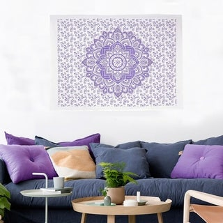 Boho Hippie Bohemian Mandala Printed Multi-Color Cotton Wall Hanging Decor Poster Tapestry Throw Bedspread - 30x45 inches