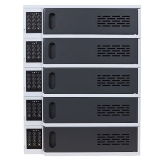 Offex 5 Bay Mobile Electronic Devices Charging Station Locker with Digital Key Lock System, Gray