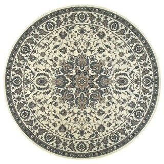 New Traditions Medallion Ivory/ Navy Loop Pile Indoor-Outdoor Area Rug - 7'10 x 7'10