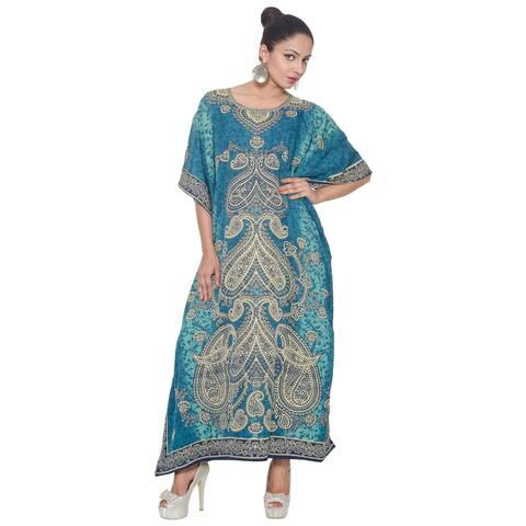 Blue Tunic Top Abstract Blue Kaftan Plus Size Caftan Blouse Summer Long Casual Dress Women
